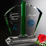 Fandango Emerald and Optical Crystal Award 9-1/2in