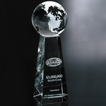 Tapered Optical Crystal Globe Award 9 in.