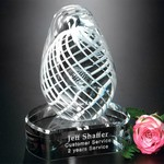 White Swirl on Clear Base Art Glass Award 5 in.