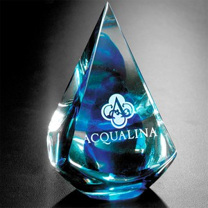 Quatro Pyramid Art Glass Award  Blue 4 in.