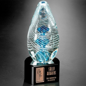 Synergy on Black Base Art Glass Award 7 in.