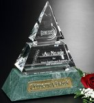 Vandalia Pyramid Award Green Marble and Optical Crystal Award