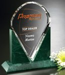 Valdez Award Green Marble and Optical Crystal Award 10-1/2 in.