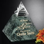 Vernita Peak Green Marble and Optical Crystal Award 3-1/4 in.