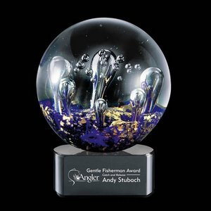 Serendipity Art Glass Award on Black Base - 4 in. Diam