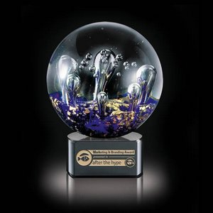 Serendipity Art Glass Award on Black Base - 6.25 in. Diam