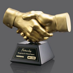 Shaking Hands Award - Gold Resin 6.5 in. Wide
