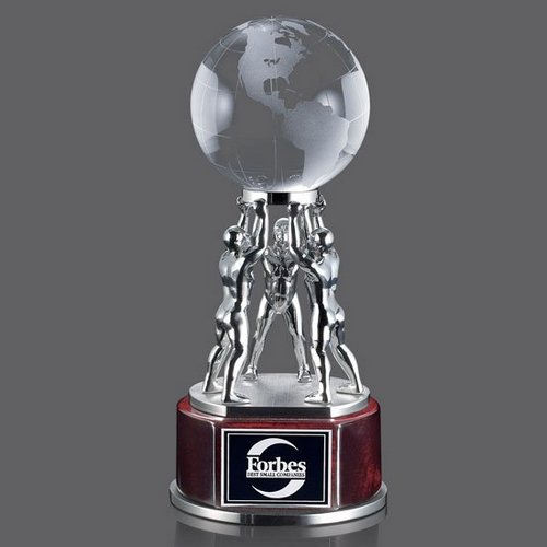 Pritchard Globe Award - Rosewood/Chrome 8.25 in.