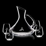 Bearden Carafe and 4 Stemless Wine Glasses Engraved