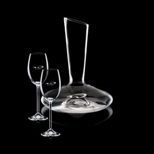 Henkel Carafe and 2 Wine Glasses Engraved