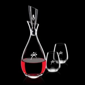 Juliette Decanter and 2 Stemless Wine Glasses Engraved
