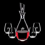 Juliette Decanter and 4 Stemless Wine Glasses Engraved