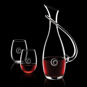 Uxbridge Carafe and 2 Stemless Wine Glasses Engraved