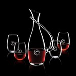Uxbridge Carafe and 4 Stemless Wine Glasses Engraved