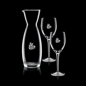 Hemlock Carafe and 2 Wine Glasses Engraved