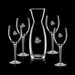 Hemlock Carafe and 4 Wine Glasses Engraved