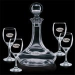 Elegance Ship's Decanter and 4 Wine Glasses Engraved