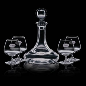 Elegance Ship's Decanter and 4 Brandy Snifters