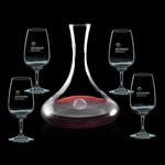 Vantage Carafe and 4 Wine Glasses Engraved