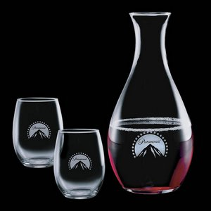 Riley Carafe and 2 Stanford Wine Glasses Engraved