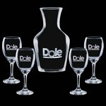 Summit Carafe and 4 Wine Glasses Engraved Glasses
