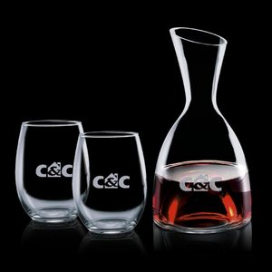Rathburn Carafe and 2 Stemless Wine Glasses Engraved