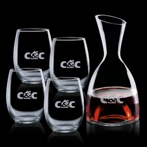 Rathburn Carafe and 4 Stemless Wine Glasses Engraved