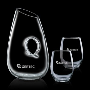 Hallandale Carafe and 2 Stemless Wine Glasses Engraved