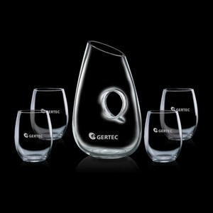 Hallandale Carafe and 4 Stemless Wine Glasses Engraved