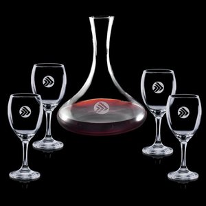 Yorkville Carafe and 4 Wine Glasses Engraved