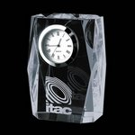 Adelaide Clock - Optical 3.5 in. Crystal clocks, engraved clocks, imprinted clocks, logo clocks, engraved logo clocks,  Crystal Gifts, Engraved clock plates, Corporate Gift clock , clock business gifts, Executive clock Gifts