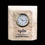 Ajax Clock - Marble Botocino Crystal clocks, engraved clocks, imprinted clocks, logo clocks, engraved logo clocks,  Crystal Gifts, Engraved clock plates, Corporate Gift clock , clock business gifts, Executive clock Gifts