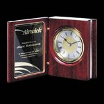 Academy Clock - Rosewood 5.5 in. Crystal clocks, engraved clocks, imprinted clocks, logo clocks, engraved logo clocks,  Crystal Gifts, Engraved clock plates, Corporate Gift clock , clock business gifts, Executive clock Gifts