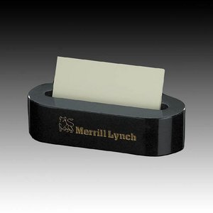 Marble Business Card Holder - Oval Black