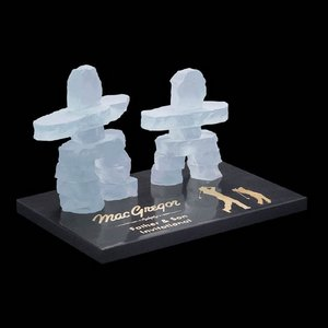 Frosted Inukshuk - Mother/Child on Marble