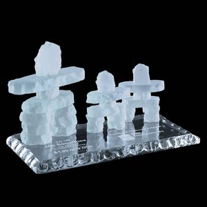 Frosted Inukshuk - Family of 3 on Jade