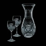 Medallion Carafe and 2 Wine Glasses Engraved Glasses