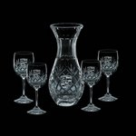 Medallion Carafe and 4 Wine Glasses Engraved Glasses