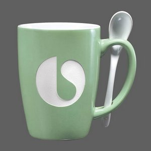 Winfield Mug and Spoon - 15oz Green