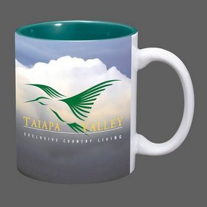 Sublimated Full Color Design Coffee Mug - 11oz Green