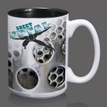 Sublimated Full Color Design Coffee Mug - 15oz Black