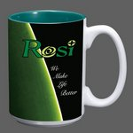 Sublimated Full Color Design Coffee Mug - 15oz Green