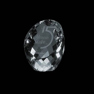 Danbury Slanted Optical Crystal Award Paperweight 2 in.