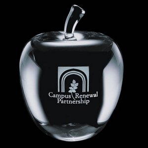 Melford Optical Crystal Apple  Paperweight -  2-3/8 in. Diameter