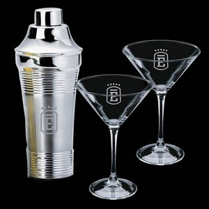 Rockport Shaker and 2 Connoisseur Martini Glasses