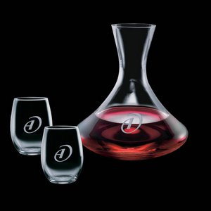 Senderwood Carafe and 2 Stanford Wine Glasses Engraved