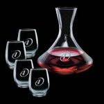Senderwood Carafe and 4 Stanford Wine Glasses Engraved