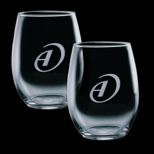 Stanford 9oz Stemless Wine Glasses Engraved (Set of 2)