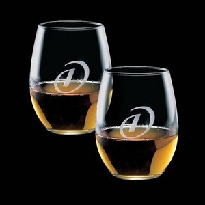 Stanford 15oz Stemless Wine Glasses Engraved (Set of 2)