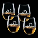 Stanford 15oz Stemless Wine Glasses Engraved (Set of 4)